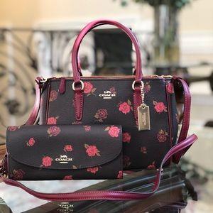NWT Coach Floral satchel handbag&wAllet set
